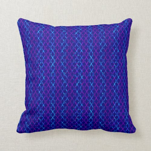 Blue and Purple Scissors / Scissor Stripes Throw Pillow