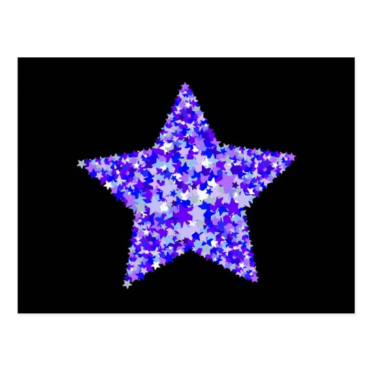 Blue and Purple Star of Stars Postcard