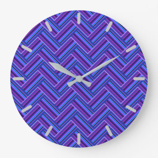 Blue and purple stripes double weave large clock