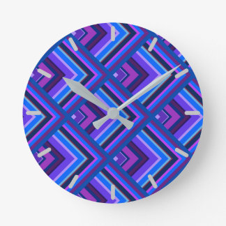 Blue and purple stripes scale pattern round clock