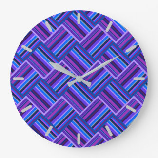 Blue and purple stripes weave large clock
