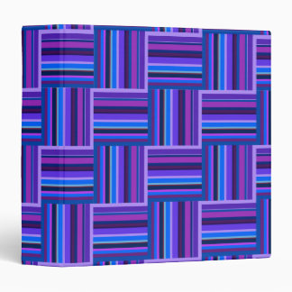 Blue and purple stripes weave pattern 3 ring binder
