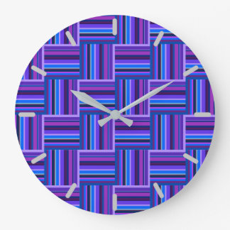 Blue and purple stripes weave pattern large clock