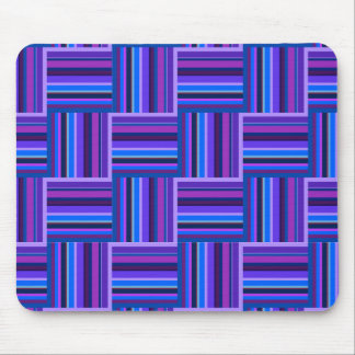 Blue and purple stripes weave pattern mouse pad