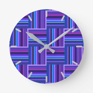 Blue and purple stripes weave pattern round clock