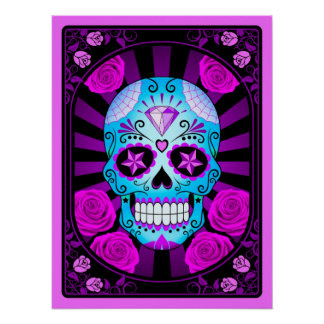 Blue and Purple Sugar Skull with Roses Poster