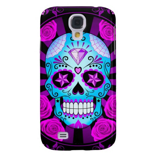 Blue and Purple Sugar Skull with Roses Poster Samsung Galaxy S4 Cases