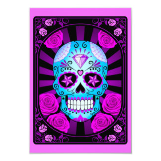 Blue and Purple Sugar Skull with Roses Poster Invitations
