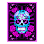 Blue and Purple Sugar Skull with Roses Poster Postcard