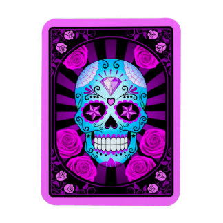 Blue and Purple Sugar Skull with Roses Poster Flexible Magnets