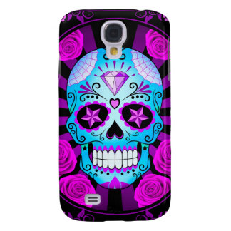 Blue and Purple Sugar Skull with Roses Poster Samsung Galaxy S4 Cover