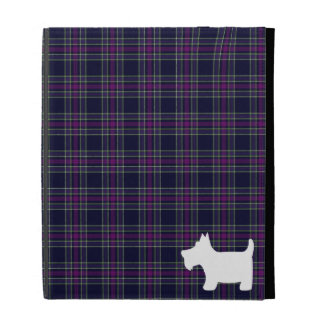 Blue and Purple Tartan Plaid with Scottie Dog iPad Folio Covers