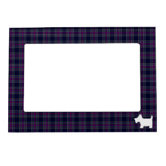 Blue and Purple Tartan Plaid with Scottie Dog Magnetic Picture Frame