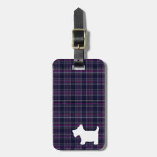 Blue and Purple Tartan Plaid with Scottie Dog Tag For Luggage