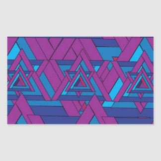 Blue and Purple Triangle Design Rectangular Sticker