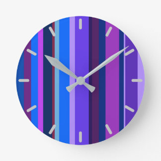 Blue and purple vertical stripes round clock