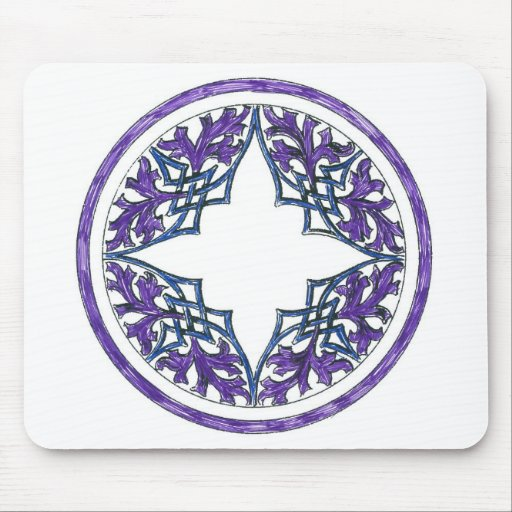 Blue and Purple Victorian Celtic ish Ornament Mouse Pad