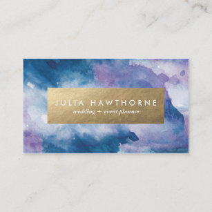 Purple and gold business cards zazzle blue and purple watercolor and gold faux foil business card colourmoves