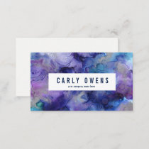 Blue and Purple Watercolor Texture Business Card