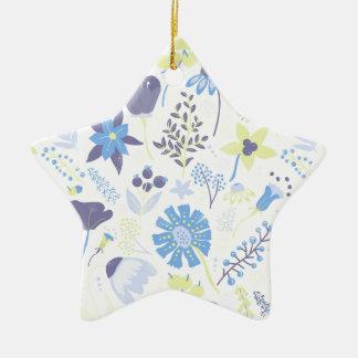 Blue and Purple Wildflowers Ceramic Ornament
