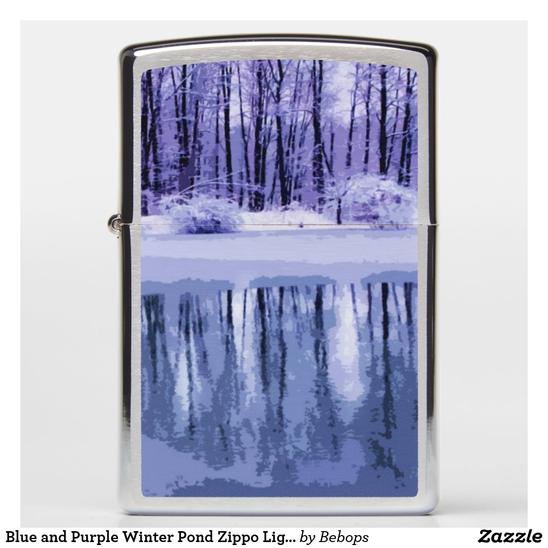 Blue and Purple Winter Pond Zippo Lighter