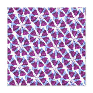 Blue and Purple Winter Snowflake Pattern Pinwheel Stretched Canvas Print