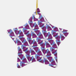 Blue and Purple Winter Snowflake Pattern Pinwheel Ceramic Ornament