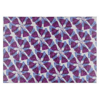 Blue and Purple Winter Snowflake Pattern Pinwheel Cutting Board