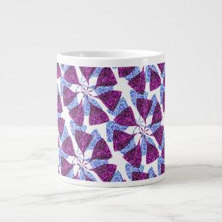 Blue and Purple Winter Snowflake Pattern Pinwheel Large Coffee Mug