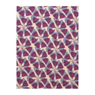 Blue and Purple Winter Snowflake Pattern Pinwheel Wood Canvas