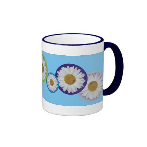 Blue and Rainbow Daisies Mug