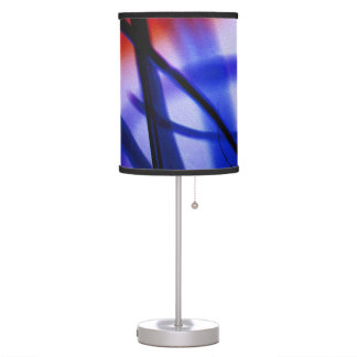 Blue and Red Abstract Lampshade, Modern Decor Table Lamp