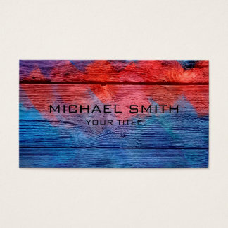Blue and Red Acrylic Painting on Wood #2 Business Card