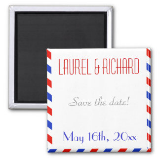 Blue and Red Air Mail Wedding Magnets