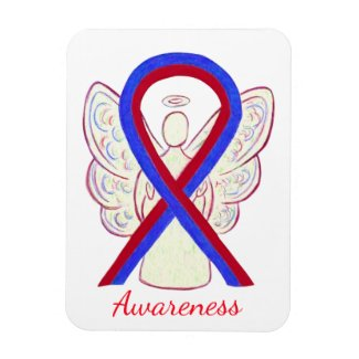 Blue and Red Awareness Ribbon Angel Magnets