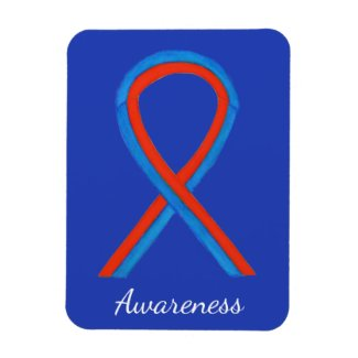 Blue and Red Awareness Ribbon Custom Art Magnets