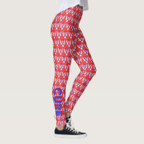 Blue and Red Awareness Ribbon Custom Leggings