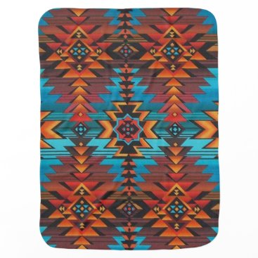 Aztec Themed Blue and Red Aztec Stroller Blanket