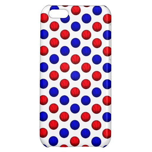 Blue and Red Basketball Pattern iPhone 5C Cases