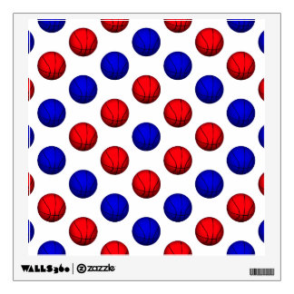 Blue and Red Basketball Pattern Wall Sticker