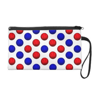 Blue and Red Basketball Pattern Wristlet