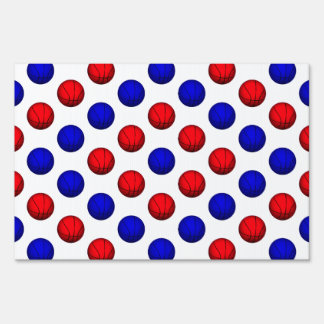 Blue and Red Basketball Pattern Yard Sign