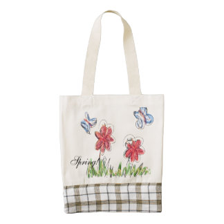 Blue and red butterflies and flowers... zazzle HEART tote bag