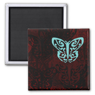 Blue and Red Butterflies Art 2 Inch Square Magnet