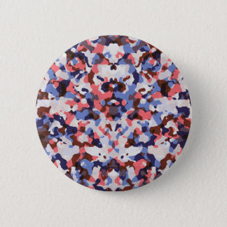 Blue and red camouflage pattern button
