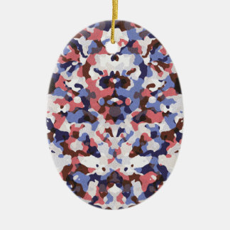 Blue and red camouflage pattern ceramic ornament