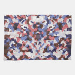 Blue and red camouflage pattern hand towel
