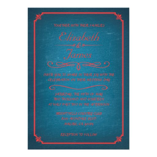 """Blue And Red Chalkboard Wedding Invitations 5"""" X 7"""