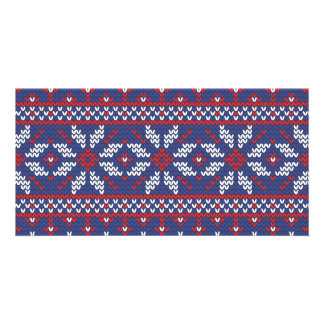 Blue and Red Christmas Abstract Knitted Pattern Card