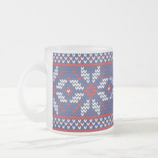 Blue and Red Christmas Abstract Knitted Pattern Frosted Glass Coffee Mug